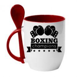 Кружка с керамической ложкой Boxing Champions - FatLine