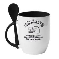 Кружка с керамической ложкой Boxing just like ballet - FatLine