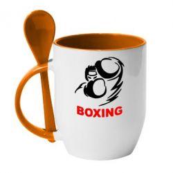 Кружка с керамической ложкой Boxing - FatLine