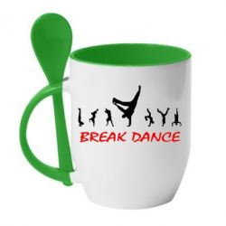 Кружка с керамической ложкой Break Dance - FatLine