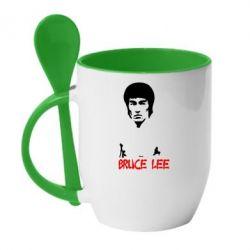 Кружка с керамической ложкой Bruce Lee - FatLine