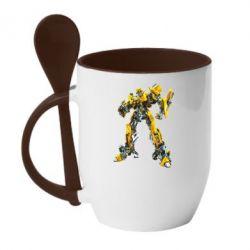 Кружка с керамической ложкой Bumblebee - FatLine