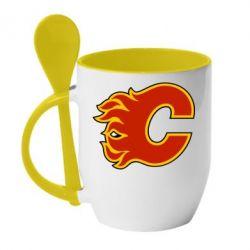 Кружка с керамической ложкой Calgary Flames - FatLine