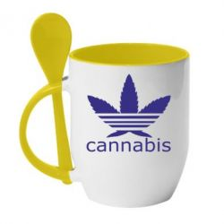 Кружка с керамической ложкой Cannabis - FatLine