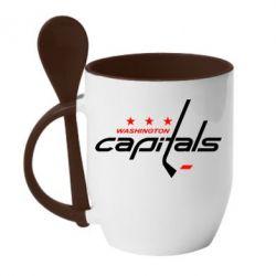 Кружка с керамической ложкой Capitals - FatLine