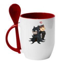 Кружка с керамической ложкой Catwoman and Angry Batman - FatLine