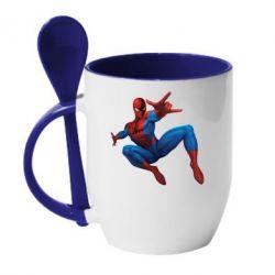 Кружка с керамической ложкой Человек Паук - FatLine