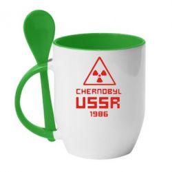Кружка с керамической ложкой Chernobyl USSR - FatLine