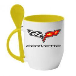 Кружка с керамической ложкой Chevrolet Corvette - FatLine