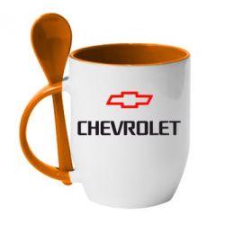 Кружка с керамической ложкой CHEVROLET - FatLine