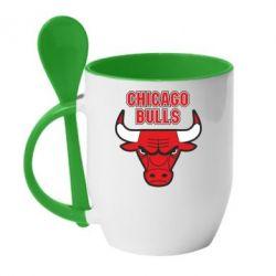 Кружка с керамической ложкой Chicago Bulls vol.2 - FatLine