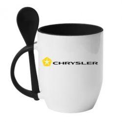 Кружка с керамической ложкой Chrysler Logo - FatLine