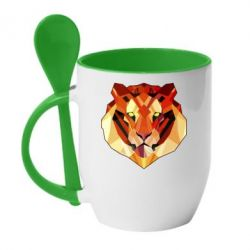 Кружка с керамической ложкой Colorful Tiger - FatLine