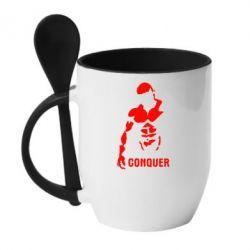Кружка с керамической ложкой Conquer - FatLine
