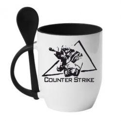 Кружка с керамической ложкой Counter Strike Gamer - FatLine