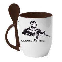 Кружка с керамической ложкой Counter Strike Player - FatLine
