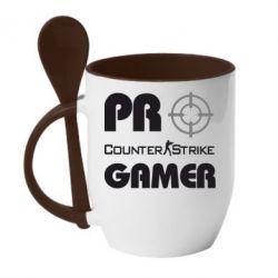 Кружка с керамической ложкой Counter Strike Pro Gamer - FatLine