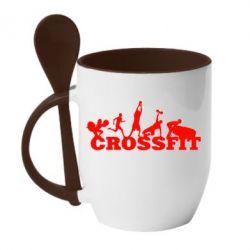 Кружка с керамической ложкой Crossfit - FatLine