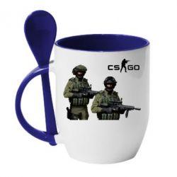 Кружка с керамической ложкой CS GO - FatLine