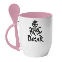 Кружка с керамической ложкой DAKAR LOGO - FatLine
