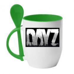 Кружка с керамической ложкой Dayz logo - FatLine