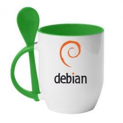 Кружка с керамической ложкой Debian - FatLine