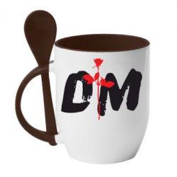 Кружка с керамической ложкой depeche mode logo - FatLine