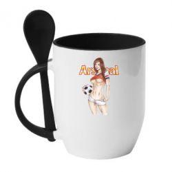 Кружка с керамической ложкой Девушка Арсенал - FatLine