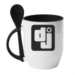 Кружка с керамической ложкой DJ star - FatLine