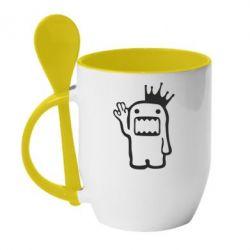 Кружка с керамической ложкой Домо Кун с короной - FatLine