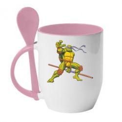 Кружка с керамической ложкой Donatello - FatLine