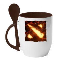 Кружка с керамической ложкой Dota 2 Fire Logo - FatLine
