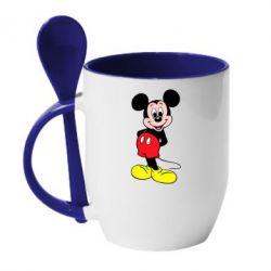 Кружка с керамической ложкой Довольный Микки Маус - FatLine