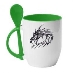 Кружка с керамической ложкой Dragon - FatLine