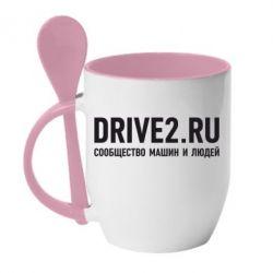 Кружка с керамической ложкой Drive2.ru - FatLine