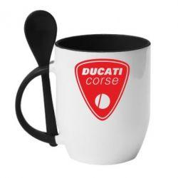 Кружка с керамической ложкой Ducati Corse - FatLine