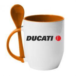 Кружка с керамической ложкой Ducati - FatLine