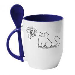 Кружка с керамической ложкой Два кота - FatLine