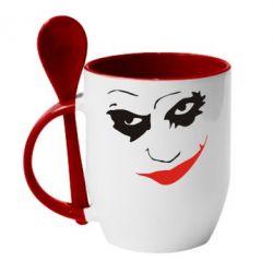 Кружка с керамической ложкой Джокер - FatLine