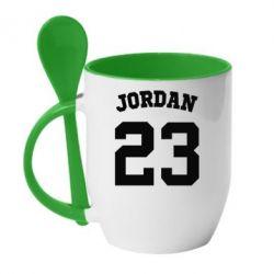 Кружка с керамической ложкой Джордан 23 - FatLine