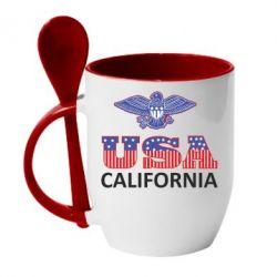 Кружка с керамической ложкой Eagle USA - FatLine