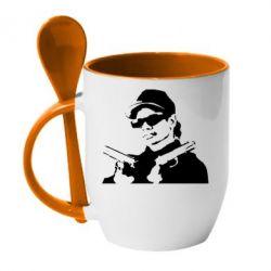 Кружка с керамической ложкой Eazy-E Gunz - FatLine