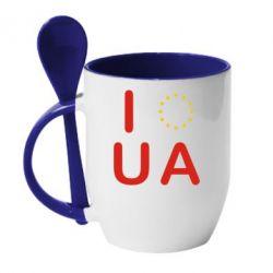 Кружка с керамической ложкой Euro UA - FatLine