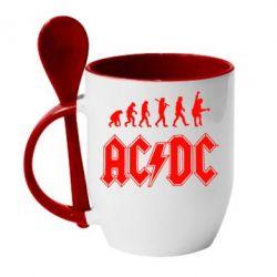 Кружка с керамической ложкой Эволюция AC\DC - FatLine