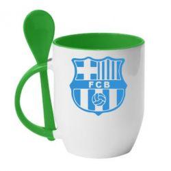 Кружка с керамической ложкой FC Barcelona - FatLine