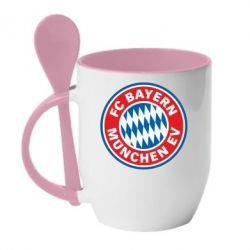 Кружка с керамической ложкой FC Bayern Munchen - FatLine