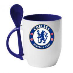 Кружка с керамической ложкой FC Chelsea - FatLine