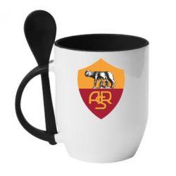 Кружка с керамической ложкой FC Roma - FatLine