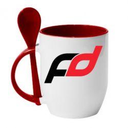 Кружка с керамической ложкой FD - FatLine