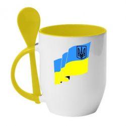 Кружка с керамической ложкой Флаг Украины с Гербом - FatLine